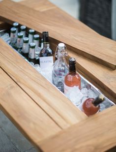 Close up of the trough featured in our reclaimed teak outdoor bar tables. Fill with ice and drinks or plant up with flowers. Click the image to see the whole range. Outdoor Garden Bar, Outdoor Bbq Kitchen, Outdoor Bar Table, Backyard Bar, Patio Bar Set, Bar Tables, Diy Garden Bar, Small Outdoor Kitchens, Small Garden Bar Ideas
