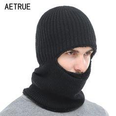 b87b62eabb87d AETRUE Winter Hat Knitted Hat Men Women Mask Scarf Skullies Beanies Hats  For Men Warm Balaclava