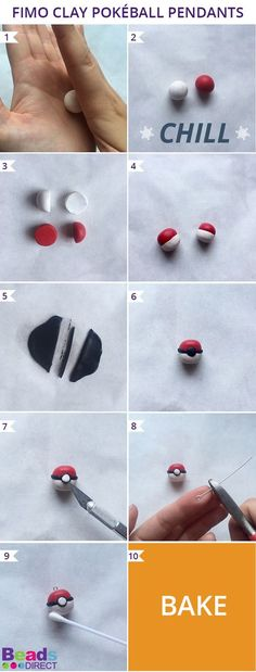 In this tutorial you will learn how to make two Pokéball pendants using Fimo clay. You could make them into a pair of earrings, a necklace for you and a friend, or make even more for a funky Pokéball bracelet!
