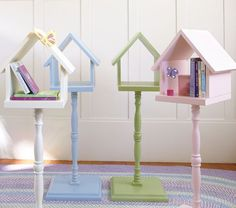 Birdhouse Side Table | Pottery Barn Kids DIY with stair rod, base and birdhouse.
