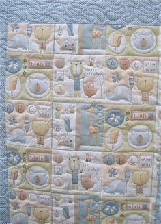 For a Baby Boy.  Owls Bears & Friends Baby Boy Quilt by onebeelane on Etsy, $80.00