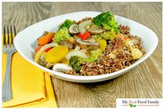 Quinoa and Sauteed Veggies Recipe Side Dishes, Main Dishes with quinoa, water, olive oil, mushrooms, mixed vegetables, bell pepper, teriyaki sauce, feta cheese
