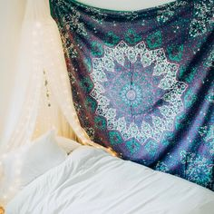 Lady Scorpio | @Ladyscorpio101 ☽☽ ladyscorpio101.com ☆ Perfect Bedroom Decor for the Hippie at heart ♡ These Mandala Tapestry decorations are perfect for Christmas and the Holidays for your home | Lavender Purple Turquoise Blue & White with Canopy & Moon Phase Wall Hanging