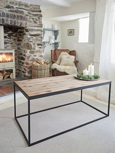 Industrial Coffee Table - great for small rooms because of the open space underneath