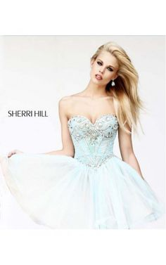 2014 Green Strapless Short Dress by Sherri Hill 21156Outlet