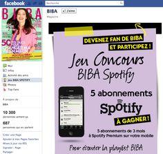 Concours Biba / Spotify avec SocialShaker
