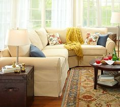 PB Comfort Slipcovered 3-Piece Sectional with Wedge #potterybarn--love this sectional and the dogs will love it too unfortunately.