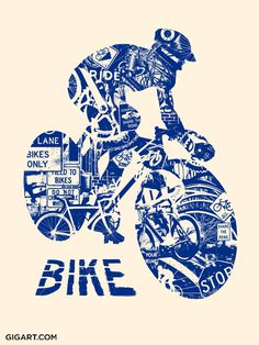 Navy Bike Anatomy Art Print by Gregg Gordon / GIGART. Size: 18 inch x 24 inch 1 color silk screen (Blue only) Cream Speckletone French Paper This Bike Anatomy Print is 1 of 3 Extreme Sport Prints. The silhouette of this biker is made up of many bicycle related images and phrases, basically the lifestyle of one who lives to ride. See also the Skate and Surf Prints listed. Collect them all at www.gigart.com