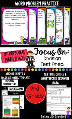 "This unit is perfect for getting your students ready to take a division test.  A great test taking strategy is simply knowing the different types of questions that may be asked on a test.  This unit has test questions written in many different formats, anchor charts to explain key vocabulary/skills, and different ways to practice test taking strategies before the ""big test""."