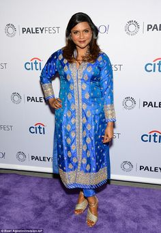 Dazzling: Mindy Kaling attended PaleyFest in New York City on Saturday in a gorgeous gold and blue dress
