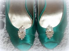 Navette Rhinestone Shoe Clips  set of 2  Bridal by ShoeClipsOnly, $28.00