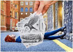 """Belgian artist Ben Heine blends photography and pencil sketches to create imaginary scenes. """"Pencil Vs Camera"""" mixes drawing and photography, imagination and reality. It's a new visual concept invented, initiated and popularized by Ben Heine. Pencil Camera, Camera Art, Pencil Art, Camera Drawing, Camera Sketches, Ipad Art, Creative Pencil Drawings, Art Drawings, Creative Photography"""