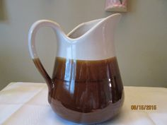 Vintage Water/Milk Pitcher, Short/Fat Brown Glaze Serving Piece, Made In Taiwan, Kitchen Ware, Bar Ware by chulapoe on Etsy
