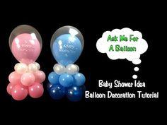 Baby Shower Balloon Decoration Idea - Balloon Centerpiece Tutorial - YouTube