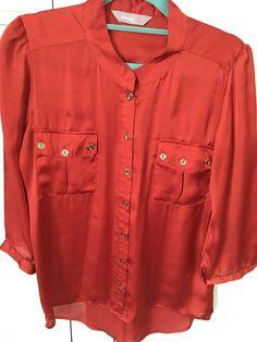 A wear - Girls / Womens Rust Blouse / Top Size 6 (Worn Once) Black Lace Blouse, Orange Blouse, Trendy Sarees, Boho Tops, Shirt Blouses, Blouses For Women, Long Sleeve Tops, Burnt Orange, Women's Clothing