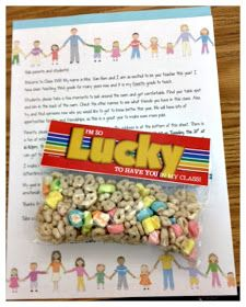 3rd Grade Thoughts: Open House Success! So Lucky to have you in my class! variation... --lucky charms--