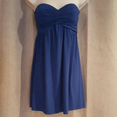 "Royal blue strapless dress Super comfy, flowy and cute. Total length 25""  bust 34"". XXI Dresses Strapless"