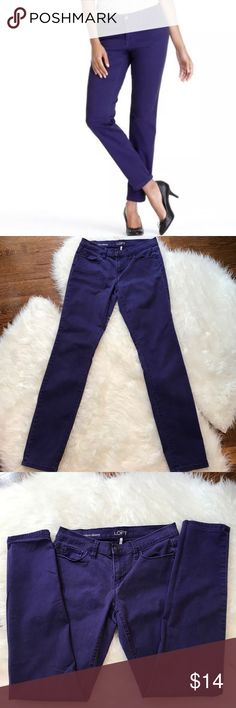 """LOFT Purple Modern Skinny Jeans LOFT modern skinny jeans in bright purple color. Very good condition. So soft and stretchy you'll never want to take them off. Mid-rise with slim, streamlined fit from hip to hem. Slim through the hips. Front zip with button closure. Five-pocket styling. Signature hardware. Inseam is about 29."""" 97% cotton, 3% spandex. Size 27 (4). LOFT Jeans Skinny"""