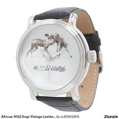 African Wild Dogs Vintage Leather Wrist Watch
