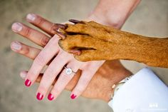 Join hands — and paw — for this too-cute family photo.