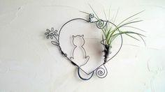 tillandsia ⚓ fille de l ' air ⚓ cadre végétal ⚓ décoration chat : Décorations murales par lartisane