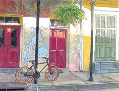 John Boles   WATERCOLOR          French Quarter Bicycle