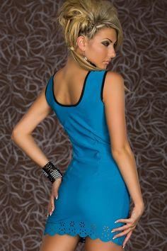 Trendy Sweetheart Bodycon Dress Blue