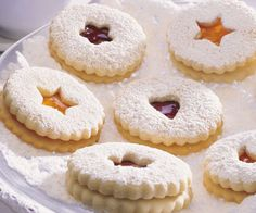 "These cookies go by many names - ""Linzerkuchen"", ""Spitzbuben"", ""Jam Cookies"" and ""Mandelkuchen"" are just some of the ones I'm familiar with. Jam Cookies, Cupcake Cookies, Linzer Cookies, No Bake Treats, No Bake Desserts, Biscuit Recipe, Recipe Box, Whole Wheat Cookies, My Favorite Food"