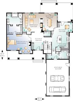 First Floor Plan of Traditional   House Plan 65104