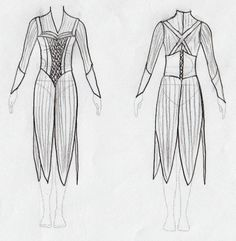 My own drawing of Tauriel's 'leaves' costume + bodice. Not very good I know :s