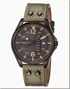 431bc4a9949 Stuhrling Original Aviator 699 03 Day And Date Green Leather Strap Mens  Watch