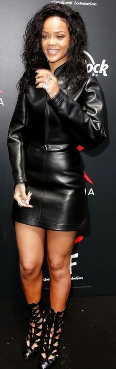 Who made Rihanna�s black jacket and leather skirt that she wore in Paris on June 5, 2014