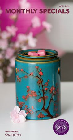 """April Warmer of the month """"Cherry Blossom"""" only $31.50 during the month of April :) lunaqtuna.scentsy.us"""