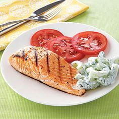 Budget meal planning: Simple, quick recipes | Grilled Salmon with Cucumber-Yogurt Salad | AllYou.com