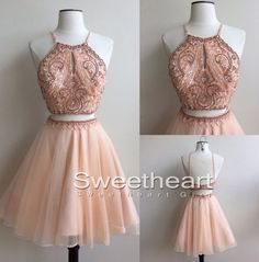Unique round neck tulle sequin two pieces short prom dress, cute homecoming dress