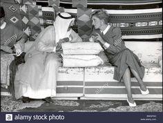 14 November 1986, Diana and Charles take refreshments with Sheikh Khalifa bin Hamad Al Thani in a bedouin tent at Doha, Qatar