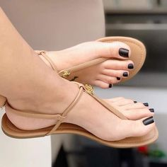 Swipe for more feet Coral Sandals, Pretty Sandals, Cute Sandals, T Strap Sandals, Sandals Outfit, Girls Sandals, Summer Sandals, Flat Sandals, Feet Soles