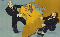 This 1941 map by Jean Fort depicting U.S. President Franklin D. Roosevelt and U.K. Prime Minister Winston Churchill in a tug-of-war over Africa was made for the German propaganda unit in occupied France.