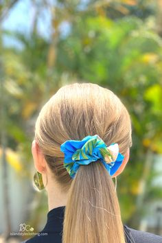 Sweet, soft & colourful. Turquoise Hibiscus Hair Scrunchie. A perfect complement to our matching dresses, shirts, wrap tops and more. #scrunchie #flamingoscrunchie #miamivibe