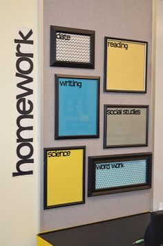 DIY dry erase boards for displaying homework - just place colored paper inside a frame!