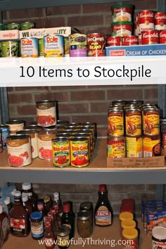 Here's a list of items that anyone can stockpile to save money! (I could use this list as a guideline and make the items by canning it and then stockpile it) This is a great place to start saving on your grocery bill Planning Menu, Planning Budget, Money Tips, Money Saving Tips, Saving Ideas, Money Savers, Money Hacks, Car Hacks, Emergency Food