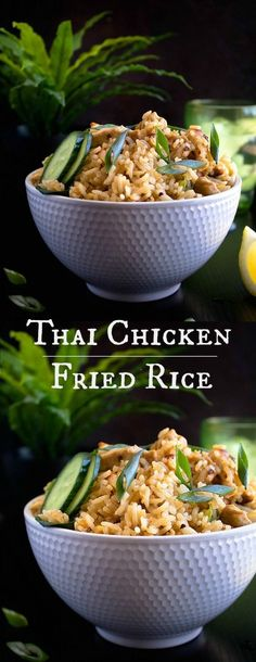Thai Chicken Fried Rice Thai Chicken Fried Rice Related posts: This Thai Spicy Basil Chicken Fried Rice recipe is SO good and so easy. It's i… Khao Phat Gai- Thai Chicken Fried Rice Thai Fried Rice Recipe Thai Chicken Fried Rice, Thai Chicken Salad, Fried Chicken Recipes, Thai Chicken Rice Recipe, Hibachi Chicken, Thai Rice, Fried Rice Recipe Chinese, Fried Rice Recipe Video, Rice Recipes