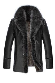 Thicken Faux Fur Collar Small Size Men s PU Jacket PU Jacket Jacket winter b2aeaca0afb