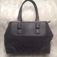 Authentic COACH Black Jacquard Satchel COACH#M0720-F11220. In great shape. No snags and scuff. Clean liner. Measures 8.5x14 Coach Bags Satchels