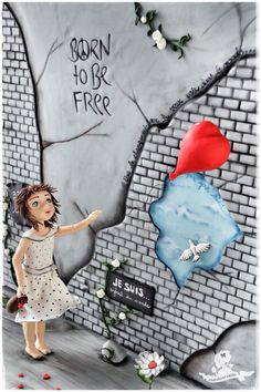 Cakes against violence collaboration - petite fille au ballon rouge - Little girl with red balloon