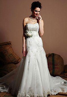 Natural Waistline Hand-made Flower Belt Chapel Train Wedding Dress picture 1