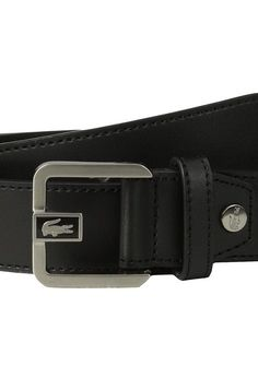 Lacoste Premium Leather Dress Belt Metal Croc (Black) Men's Belts - Lacoste, Premium Leather Dress Belt Metal Croc, RC1424-H02, Apparel Bottom Belts, Belts, Bottom, Apparel, Clothes Clothing, Gift, - Fashion Ideas To Inspire