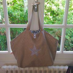 Grand sac de plage réversible lin et bleu : Autres sacs par l-oeil-de-la-poule
