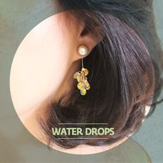 """Water Drops투명한 돌송이 """"Clusters of clear Swarovski stones held by pearls.   Media : Swarovski stones, and fresh water pearls."""" / RingPocket 2014"""