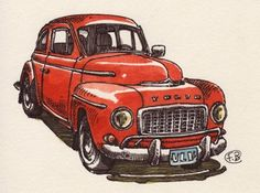 """Strawberry Volvo, France Belleville-Van Stone Quote: """"What happens when you can't stop drawing? Sometimes you can't even start, but stopping is not a possibility. What happens when the little girl you were, who locked herself in her room to draw for hours finally catches up with you? You open the door, you let her in and promise her you won't let her down ever again."""" — France Belleville"""